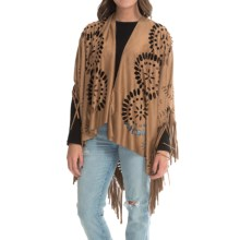 Raj Ultrasuede® Fringe Poncho (For Women) in Saddle - Closeouts