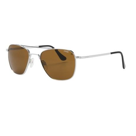 Randolph Aviator 52mm Sunglasses - Polarized, Glass Lenses in Bright Chrome/Tan Polarized/Skull Temple
