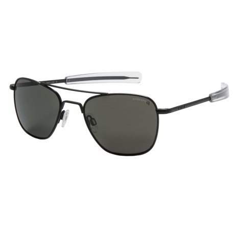 Randolph Aviator 52mm Sunglasses - Polarized, Glass Lenses in Matte Black/ Grey Polarized/ Bayonet Temple