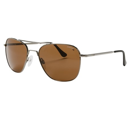 Randolph Aviator 58mm Sunglasses - Polarized, Glass Lenses in Gunmetal/Tan Polarized/Skull Temple