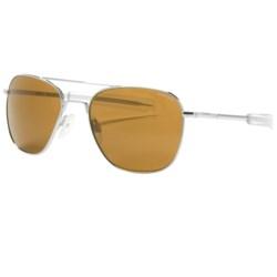 Randolph Aviator Sunglasses - 58mm Glass Lenses in Black/Tan/Skull Temple