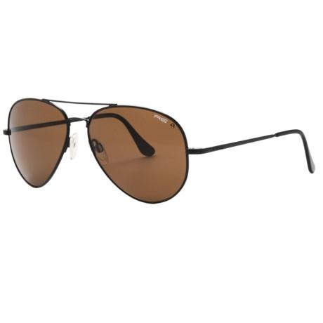 Randolph Concorde 61mm Sunglasses - Polarized, Glass Lenses in Matte Black/Tan Polarized/Skull Temple