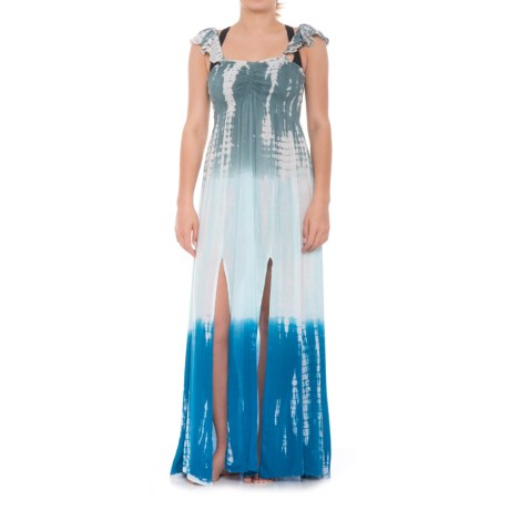 Raviya Ruffle Tie-Dye Beach Cover-Up - Sleeveless (For Women) in Blue/Grey