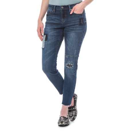 Raw Hem Skinny Crop Jeans - Mid Rise (For Women)