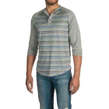 Raw Yarn Industries Striped Henley Shirt - Long Sleeve (For Men) in Grey - Closeouts