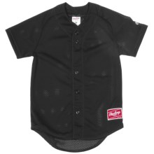 Rawlings Double Play Baseball Jersey - Short Sleeve (For Youth) in Black - Closeouts
