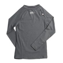 Rawlings Power Balance Heat Fusion Compression Top - Long Sleeve (For Youth Boys) in Athletic Grey - Closeouts