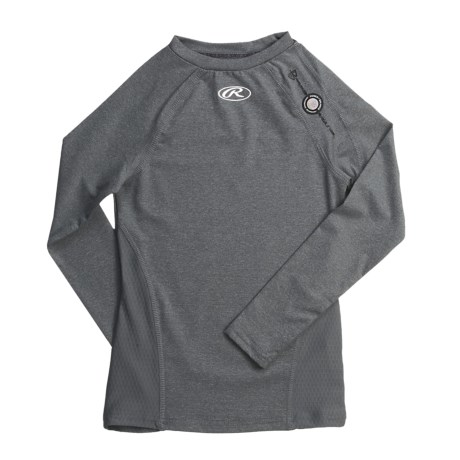 Rawlings Power Balance Heat Fusion Compression Top - Long Sleeve (For Youth Boys) in Athletic Grey