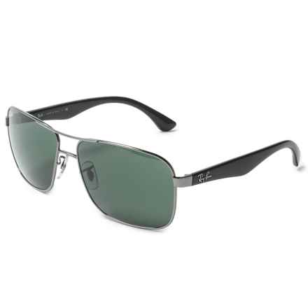 Ray-Ban Metal Pilot Sunglasses in Gunmetal/Green - Closeouts