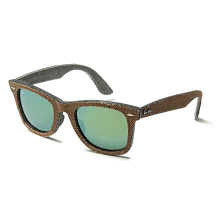Ray-Ban Original Wayfarer Bicolor RB2140F Sunglasses in Osaka Brown/Jeans Grey/Green Mirror - Closeouts