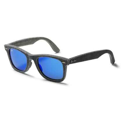 Ray-Ban Original Wayfarer Denim RB2140 Sunglasses - Mirror Lenses in Black/Grey/Blue Mirror - Closeouts