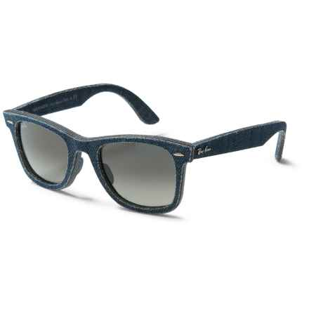 Ray-Ban Original Wayfarer Denim RB2140F Sunglasses in Blue Denim/Green Gradiant - Closeouts