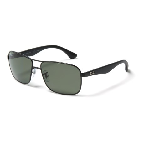 Ray-Ban RB 3516 Sunglasses - Polarized in Matte Black/Green Classic G-15