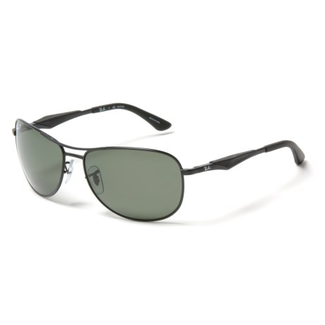 Ray-Ban RB 3519 Sunglasses - Polarized in Green/Matte Black