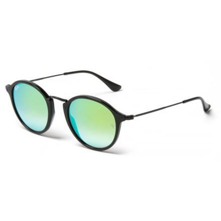 eaa8586176 Ray-Ban RB2447 Round Fleck Pop Sunglasses in Green Shiny Black