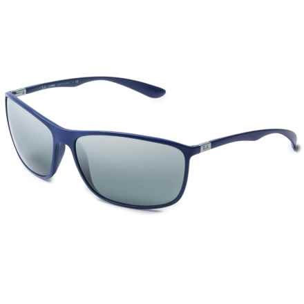 Ray-Ban Sport Wrap RB4231 Sunglasses in Matte Blue/Grey Mirror Silver Gradient - Closeouts