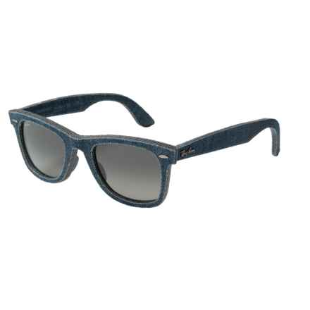 Ray-Ban Wayfarer Denim Sunglasses - Classic G-15 Lenses in Blue Denim/Green Gradiant - Closeouts