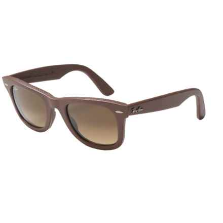 Ray-Ban Wayfarer Leather RB2140QM Sunglasses in Brown Leather/Brown Gradient - Closeouts