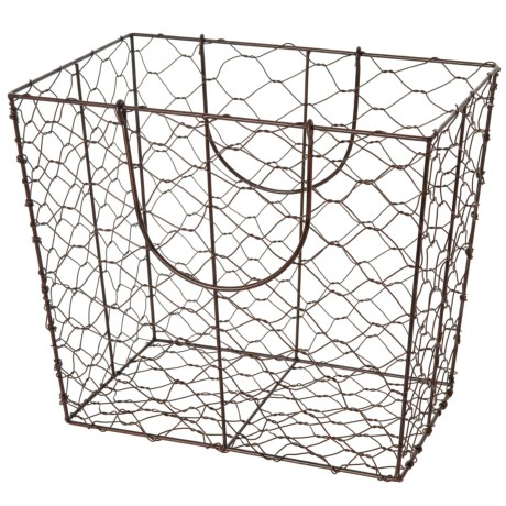 Raymond Waites Chicken Wire Storage Tote with Handles in Brown