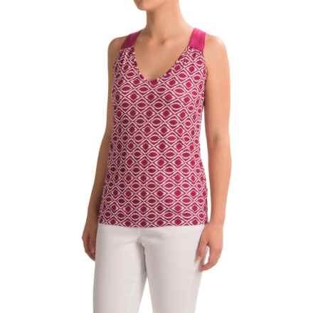 Rayon Blend Printed Tank Top - V-Neck (For Women) in Pink - 2nds