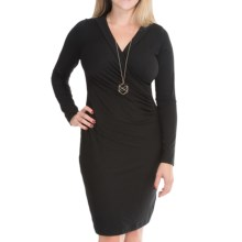 Rayon Faux-Wrap Dress - Long Sleeve (For Women) in Black - 2nds
