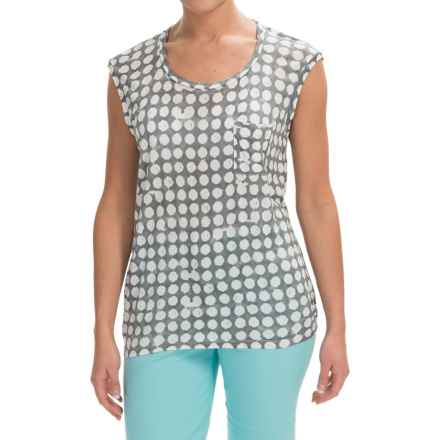 Rayon Geometric Dot Shirt - Sleeveless (For Women) in Grey - 2nds