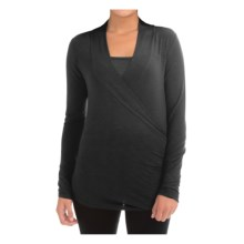Rayon Knit Faux Wrap Shirt with Matching Tank Top (For Women) in Black - 2nds