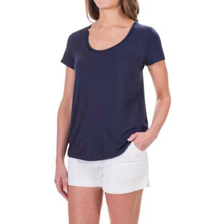 Rayon Knit Shirt - Short Sleeve (For Women) in Navy - 2nds