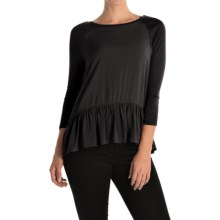 Rayon Peplum Shirt - 3/4 Sleeve (For Women) in Black - 2nds
