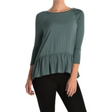 Rayon Peplum Shirt - 3/4 Sleeve (For Women) in Grey - 2nds