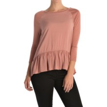 Rayon Peplum Shirt - 3/4 Sleeve (For Women) in Rose - 2nds