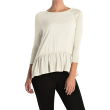 Rayon Peplum Shirt - 3/4 Sleeve (For Women) in White - 2nds