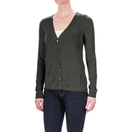 Rayon Pocketed Cardigan Sweater - V-Neck (For Women) in Charcoal Heather - 2nds
