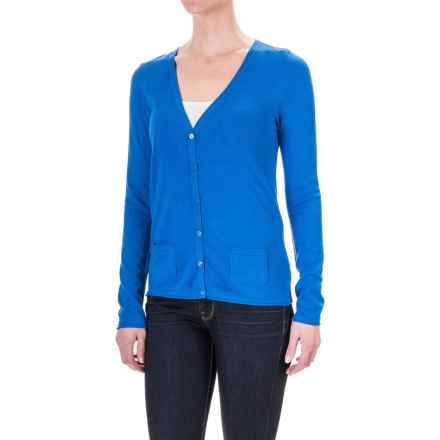 Rayon Pocketed Cardigan Sweater - V-Neck (For Women) in Royal - 2nds