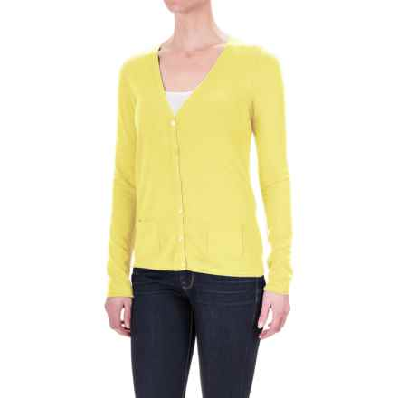 Rayon Pocketed Cardigan Sweater - V-Neck (For Women) in Yellow - 2nds
