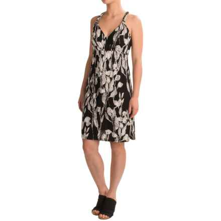 Rayon Printed Halter Dress - Sleeveless (For Women) in Black - 2nds