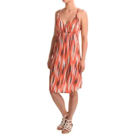 Rayon Printed Halter Dress - Sleeveless (For Women) in Orange/Grey - 2nds