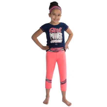 RBX Active Capris Set - 3-Piece, Short Sleeve (For Big Girls) in Navy Roosted - Closeouts