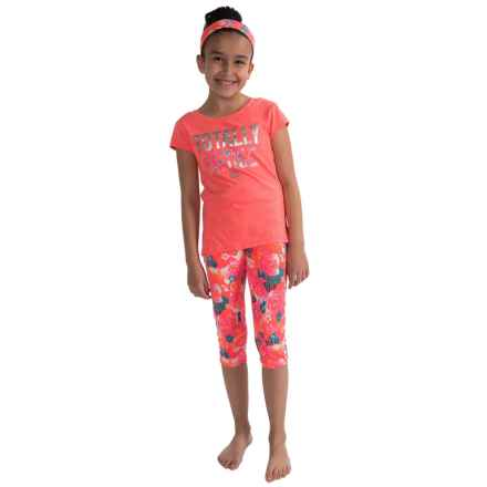 RBX Active Capris Set - 3-Piece, Short Sleeve (For Little Girls) in Hot Melon Multi - Closeouts