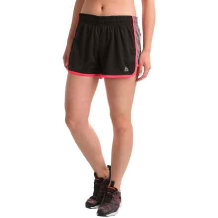 RBX Active Jersey Shorts - Built-in Briefs (For Women) in Black/Hibiscus - Closeouts