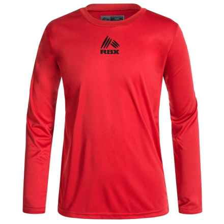RBX Active T-Shirt - Crew Neck, Long Sleeve (For Big Boys) in Collegiate Red - Closeouts