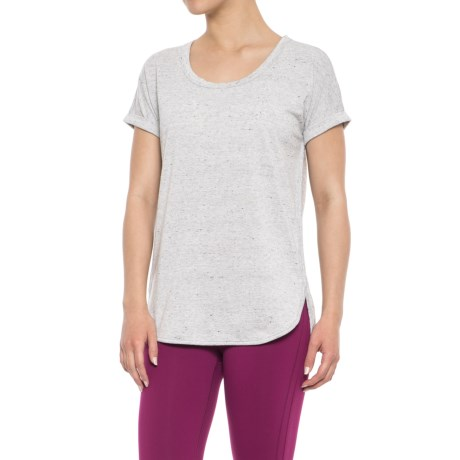 RBX Baby French Terry Roll Cuff T-Shirt - Short Sleeve (For Women) in Light Grey Heather Speckle