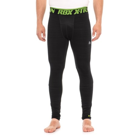 RBX Brushed Printed Compression Base Layer Pants (For Men) in Black