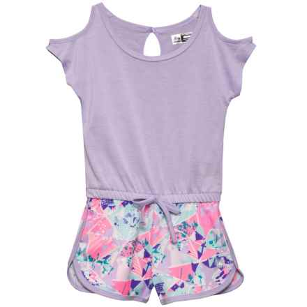 RBX Cold-Shoulder Romper - Short Sleeve (For Little Girls) in Lilac Haze Multi - Closeouts
