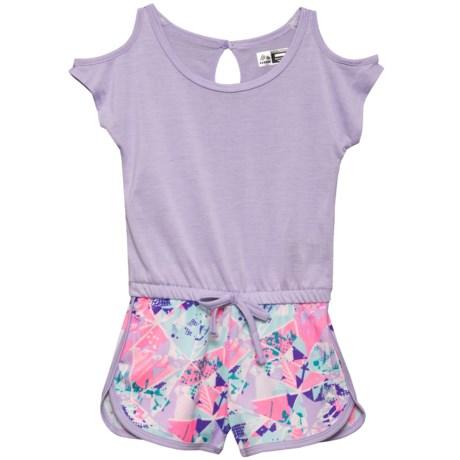 RBX Cold-Shoulder Romper - Short Sleeve (For Little Girls) in Lilac Haze Multi
