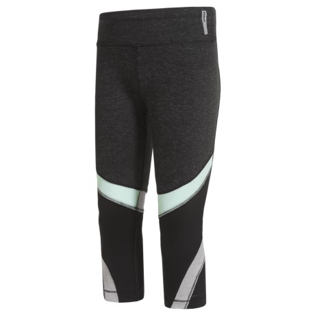 RBX Color-Block Capris with Power Mesh Inserts (For Little Girls) in Charcoal Heather/Mint Oil/Black/Gray Heather & Bla