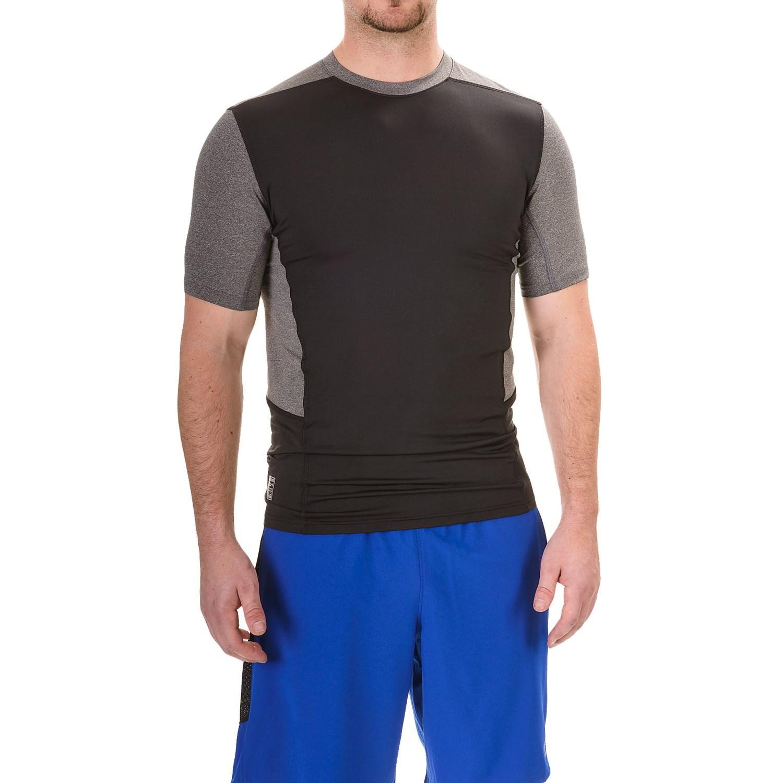 Rbx color block compression t shirt for men save 50 for Compression tee shirts for men