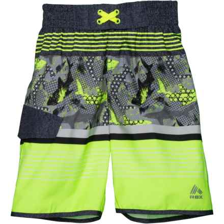 bf054a0d30 RBX Color-Block Print Swim Trunks - Built-In Brief (For Big Boys