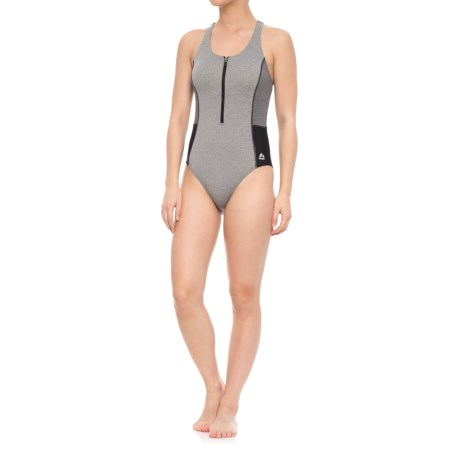 RBX Color-Block Zipper One-Piece Swimsuit - Removable Padded Cups (For Women) in Grey