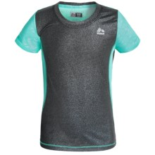 RBX Cut-and-Sew High-Performance Shirt - Short Sleeve (For Little and Big Girls) in Black/Seafoam - Closeouts